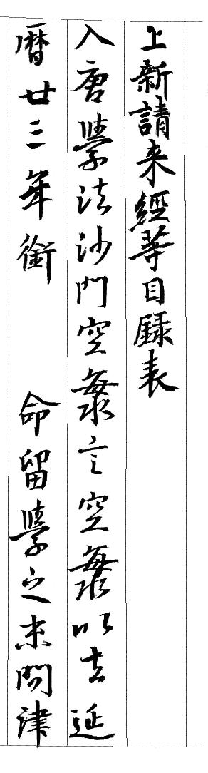 弘法大師請来目録 伝教大師筆(部分)