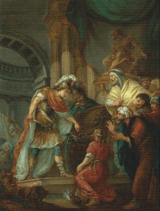 18世紀フランス派「ゴルディアスの結び目を切るアレクサンドロス」